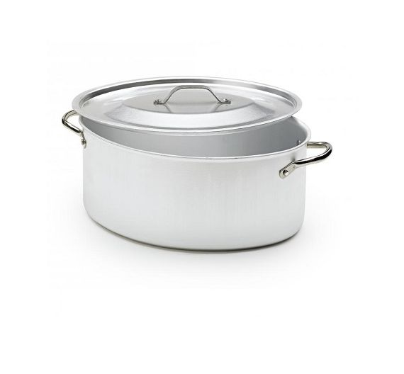 Paderno Oval aluminum saucepan with lid