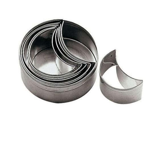 Paderno set 6 stainless steel half moon cutter art. 47312-10