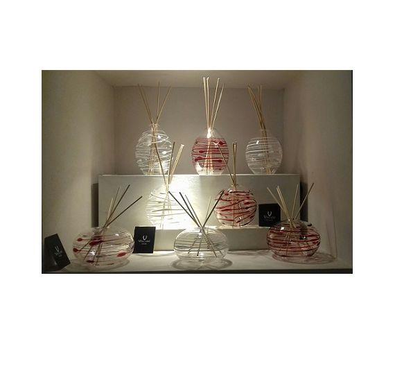 V.G. sfera diffusore in vetro righe bianche bomboniera