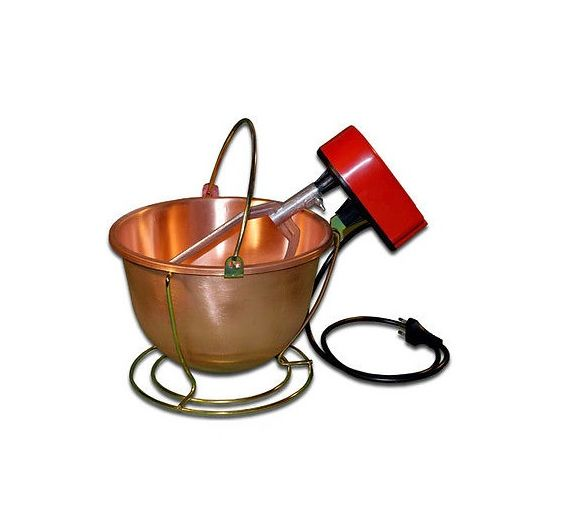 Round copper pot d. 26 with electric motor for polenta