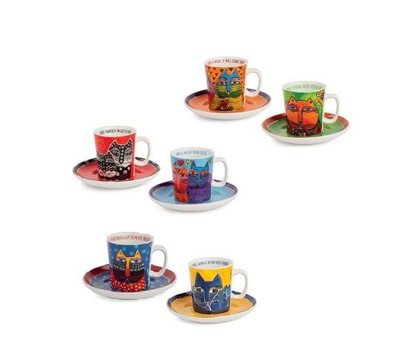 Egan Laurel Burch gatti set 6 tazzine caffè PLB06/1Z