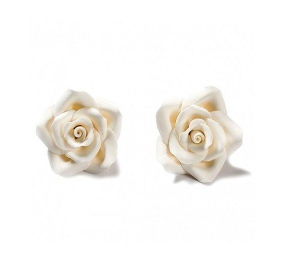 Decora set 8 Rose bianche misura media in zucchero