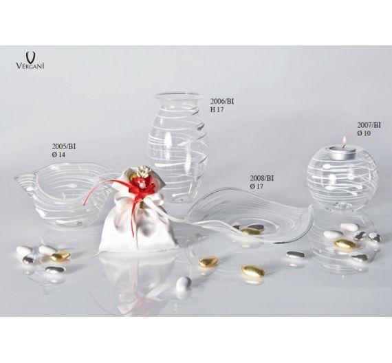 V.G. piattino a fazzoletto vetro righe bianche bomboniera