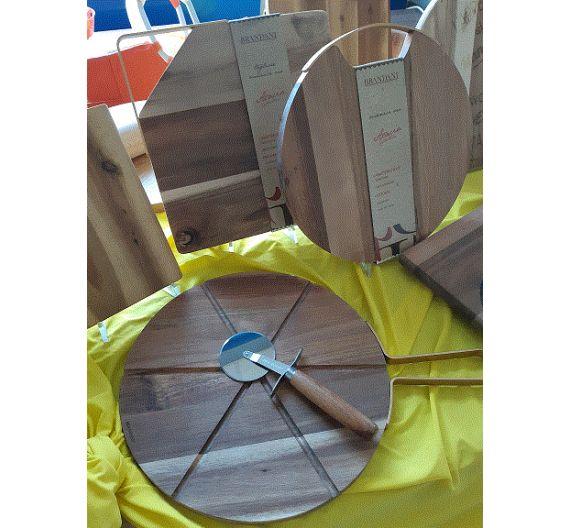 Brandani tagliere rettangolare acacia con manico oro