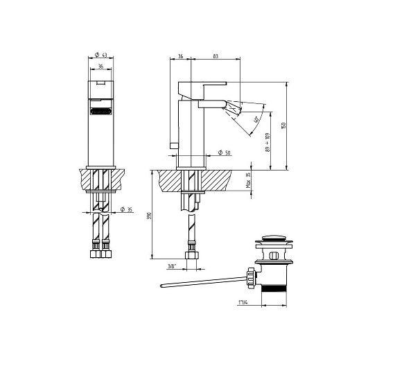 BELLOSTA SINGLE HOLE BIDET MIXER M-DUE chrome art 8907 / L