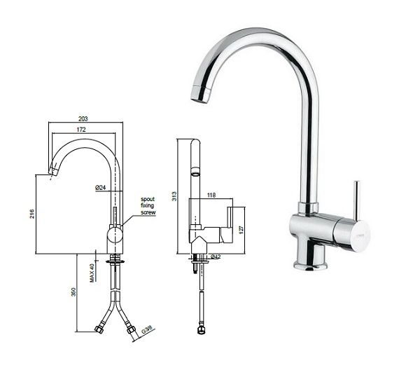 Oioli Rubinetterie mixer for sink Micro