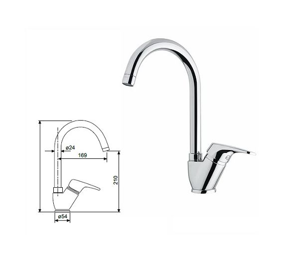 Oioli Rubinetterie mixer for sink River 2146