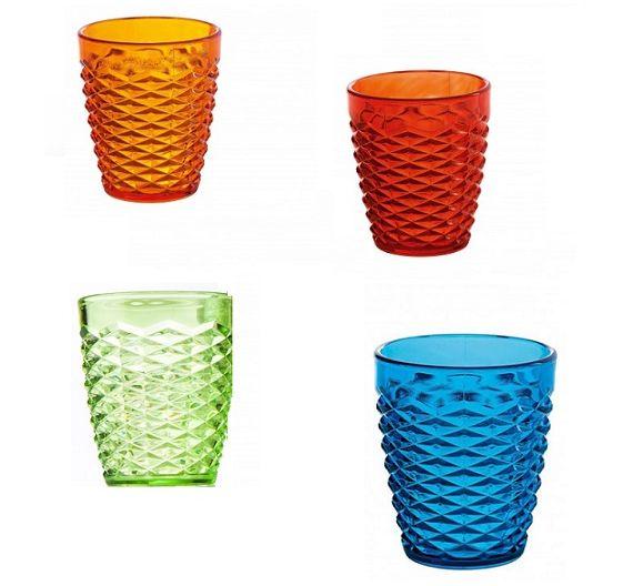 Brandani Summer set of 4 colored glasses