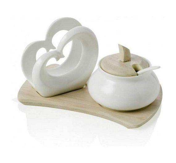 Brandani Double heart bamboo napkin holder